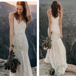 NEW Lulu's Flynn White Maxi Lace Wedding Dress M